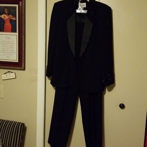 Black beaded pant suit